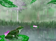 Summer Rain at Lotus Pond - by Amanda Gusack